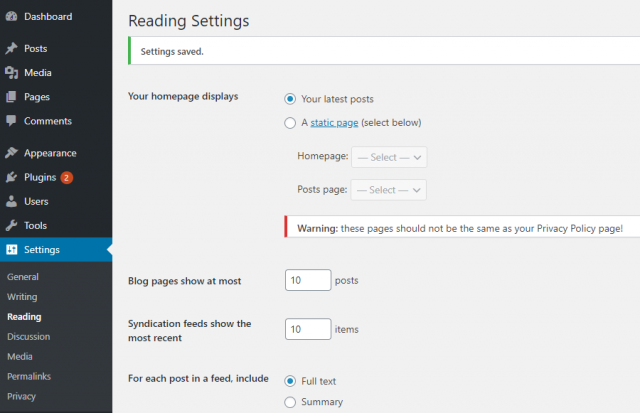 Setting the home page